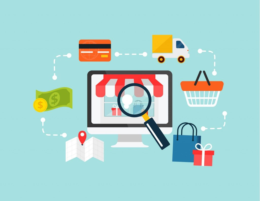 an illustration of a business using SEO, magnifying glass (for finding the business), shopping bags, money, and credit cards