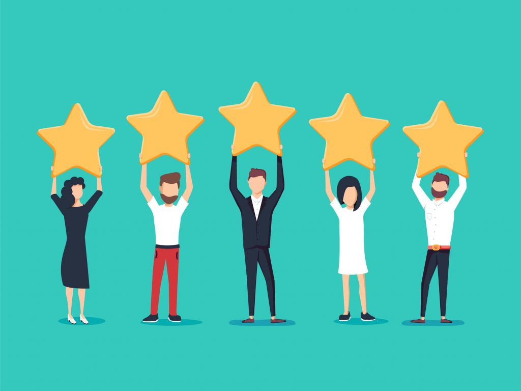 an illustration of five people holding up five stars to represent a great review