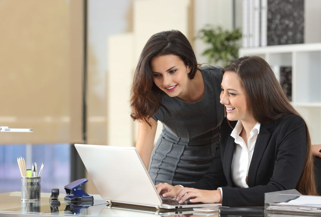 businesswoman collaborating with her employee in the office